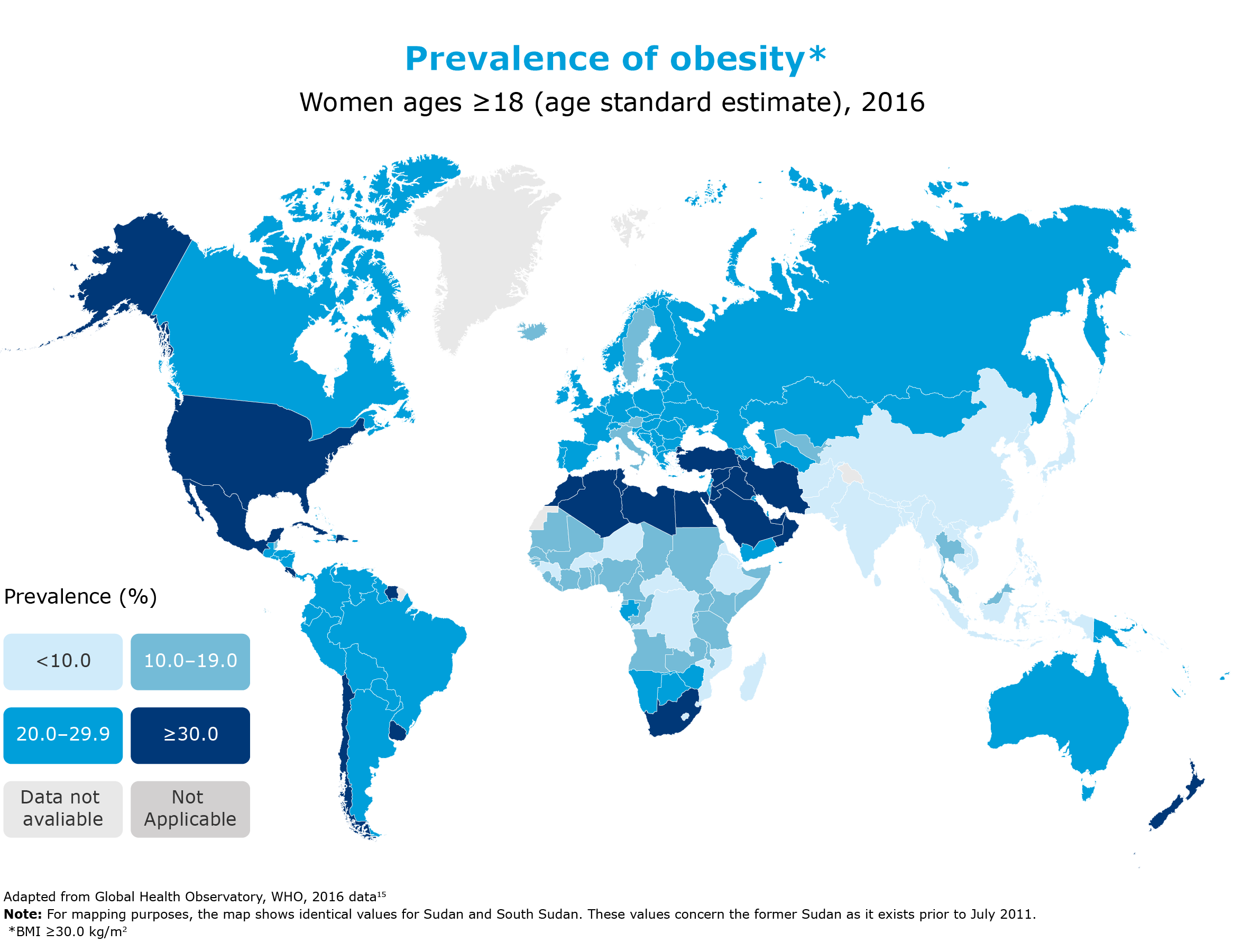 prevalence of obesity among women, >18, 2016